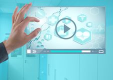 Hand touching Medical Video Player App Interface. Digital composite of Hand touching Medical Video Player App Interface royalty free stock photo