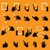 Hand Touching Mobile Phone and Digital Tablet,vector Stock Photography