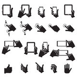 Hand Touching Mobile Phone and Digital Tablet,vector EPS10. Hand Touching Mobile Phone and Digital Tablet,vector Royalty Free Stock Image