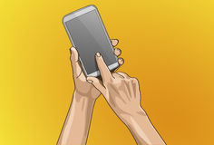 Hand Touching on Mobile. Vector illustration - Beautiful hands Touching on a smart phone in outline version Royalty Free Stock Photo