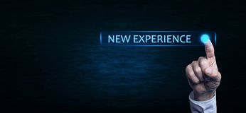 Hand touching New Experience text. royalty free stock photos