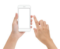 Hand touching phone mobile screen isolated on white, mock up sma Royalty Free Stock Photos