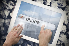 Hand touching phone on search bar on tablet screen Royalty Free Stock Photography