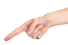 Hand touching or pointing to something Stock Images