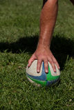 Hand touching rugby ball on grass. Cropped hand touching rugby ball on grassy field royalty free stock photography