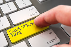 Hand Touching Save Your Time Key. 3D Render. Finger Pressing on Aluminum Keyboard Yellow Key with Save Your Time Sign. 3D Render Stock Images