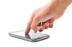 Hand touching screen Royalty Free Stock Photos