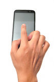 Hand touching screen Royalty Free Stock Photo