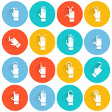 Hand Touching Screen Flat Icon Royalty Free Stock Photography
