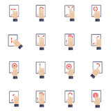 Hand Touching Screen Flat Icons. Hand touching screen of mobile device tablet flat icons set isolated vector illustration Royalty Free Stock Photography