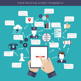 Hand Touching Screen Infographics Stock Photos