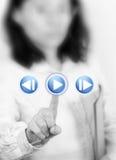 Hand touching screen interface Stock Photos