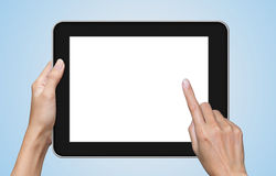 Hand touching screen on modern digital tablet pc. Royalty Free Stock Photo