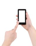 Hand touching screen of smartphone. Isolated on a white background Royalty Free Stock Image