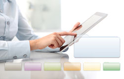 Hand touching screen tablet with infographics. Hand touching screen tablet with info graphics, closeup Stock Images