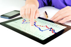 Hand touching screen of tablet pc Royalty Free Stock Photos