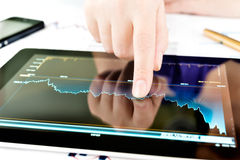 Hand touching screen of tablet pc Stock Photo