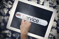 Hand touching service on search bar on tablet screen Royalty Free Stock Photos