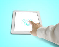 Hand touching shaking hand icon on tablet Royalty Free Stock Image