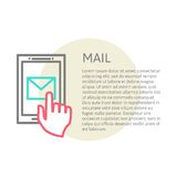 Hand touching smart phone with Email symbol on the Royalty Free Stock Images