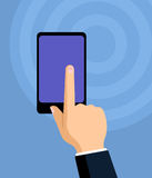 Hand touching a smartphone display, flat vector. Hand touching a smartphone display with forefinger, flat illustration Stock Image