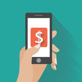 Hand touching smartphone with dollar sign on the. Screen. Using mobile smart phone silimar to iphon, flat design concept. Eps 10 vector illustration Stock Image