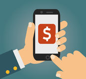 Hand touching smartphone with dollar sign on the screen. Using mobile smart phone similar to iphon, flat design concept Royalty Free Stock Photography