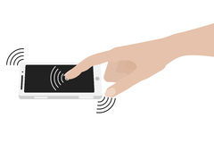 Hand touching smartphone screen Royalty Free Stock Image