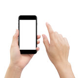 Hand touching smartphone screen isolated on white, mock up phone. Close-up hand touching smartphone screen isolated on white, mock up phone mobile blank screen Royalty Free Stock Images