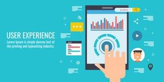 User experience, software development, mobile code, programming, dashboard, ux design concept. Flat design vector banner. Hand touching smartphone screen, user stock illustration