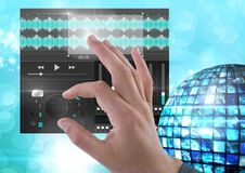 Hand Touching Sound Music Player and Audio production engineering equalizer App Interface Royalty Free Stock Images