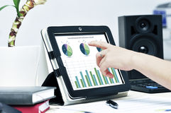 Hand touching  tablet pc. Female hand touching on modern digital tablet pc at the workplace Stock Photo