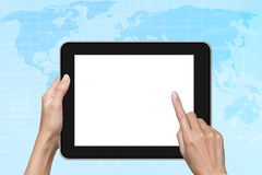 Hand touching tablet pc screen. Stock Images