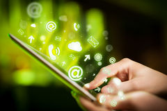 Hand touching tablet pc, social media concept Royalty Free Stock Photo