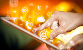 Hand touching tablet pc, social media concept Royalty Free Stock Photography