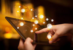 Hand touching tablet pc, social network concept Royalty Free Stock Photography