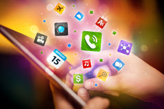 Hand touching tablet pc, social network concept Royalty Free Stock Images