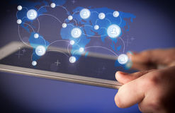 Hand touching tablet pc, social network concept Royalty Free Stock Photo