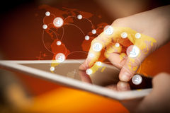 Hand touching tablet pc, social network concept Royalty Free Stock Photos