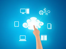 Hand touching technology of cloud computing Stock Photo