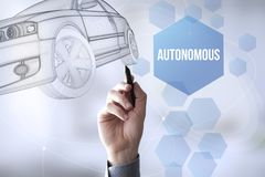 Connections pen touch autonomous car Royalty Free Stock Photography