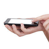 Hand touching touch smart phone isolated, social media concept Stock Photography