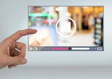 Hand touching Video Player App Interface Royalty Free Stock Photo