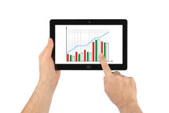Hand with touchpad pc and business diagram Stock Photos