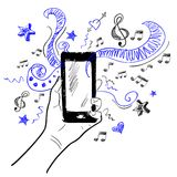 Hand touchscreen sketch music. Hand holding smartphone touchscreen sketch music elements background vector illustration Royalty Free Stock Photo