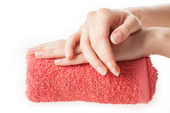 Hand on a towel royalty free stock image
