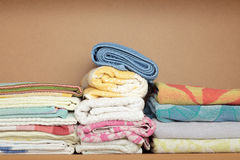 Hand towel in wooden shelf Royalty Free Stock Photography