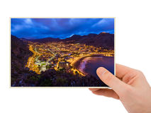 Hand and Town Machico - Madeira Portugal my photo Royalty Free Stock Images
