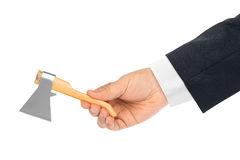 Hand with toy axe. Isolated on a white background Royalty Free Stock Photos