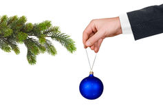 Hand with toy and Christmas tree Stock Photography